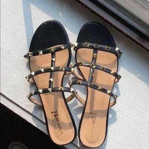 Black studded slides/sandals